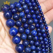 Pedra natural de contas de lápis-lazado, redondo, pedra solta, para fazer jóias, acessórios de pulseira diy 15 ''4/6/8/10/12mm