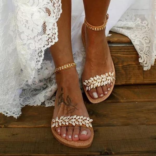 Summer Flat Sandals Women Fashion Rhinestone Open Toe Buckle Sandals Wedding Party Plus Size 35-43