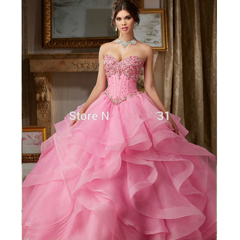 Pink 2019 Quinceanera Dresses Ball Gown Sweetheart Organza Ruffles Beaded Crystals Cheap Sweet 16 Dresses