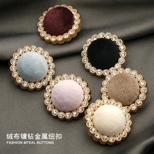 6pcs Gold Metal Rhinestone Covered Fabric Decorative Women Coat Dress Craft Buttons for Clothing Needlework Sewing