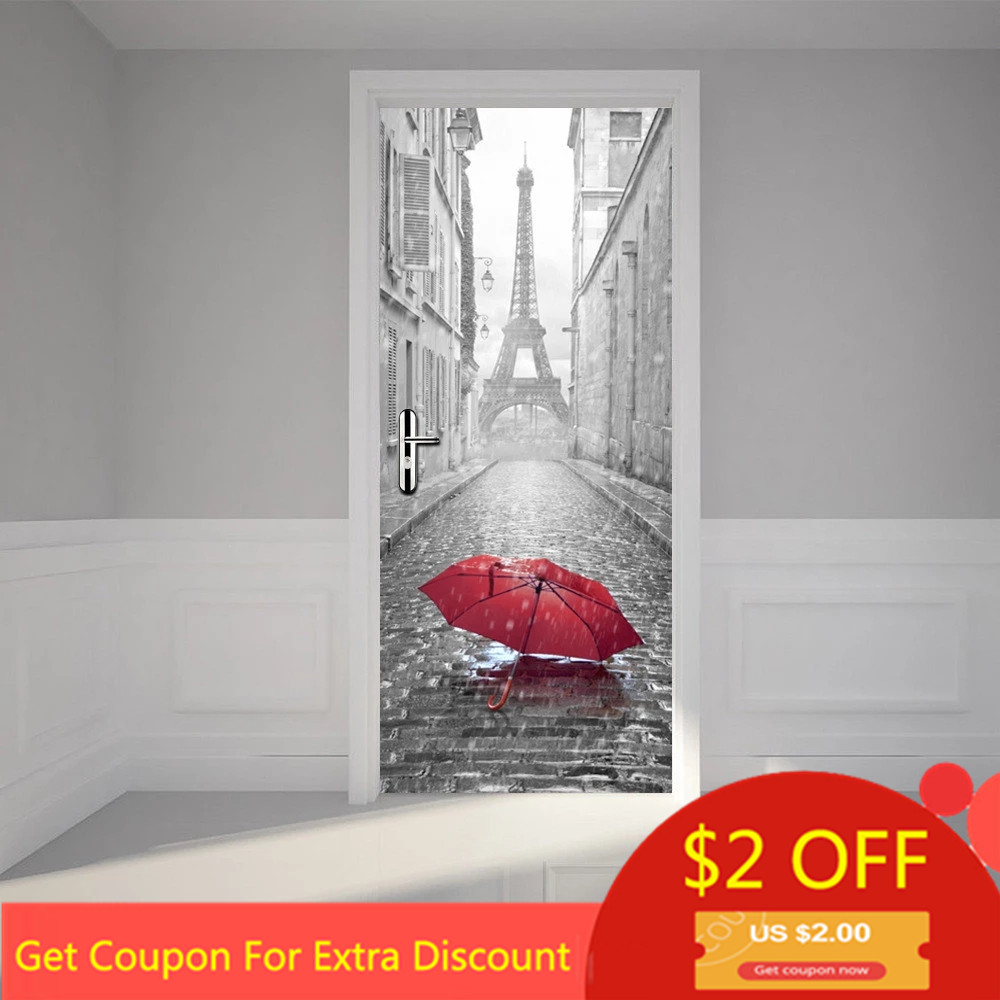 Custom Size/77*200CM 3D Eiffel Tower PVC Door Stickers Self Adhesive Home Decor Poster For Living Room DIY Waterproof Wallpaper
