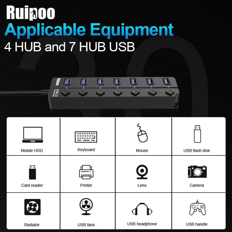 USB Hub 3.0 High Speed 4 / 7 Port USB 3.0 Hub Splitter On/Off Switch with EU/US Power Adapter for MacBook Laptop PC HUB USB 3.0 6