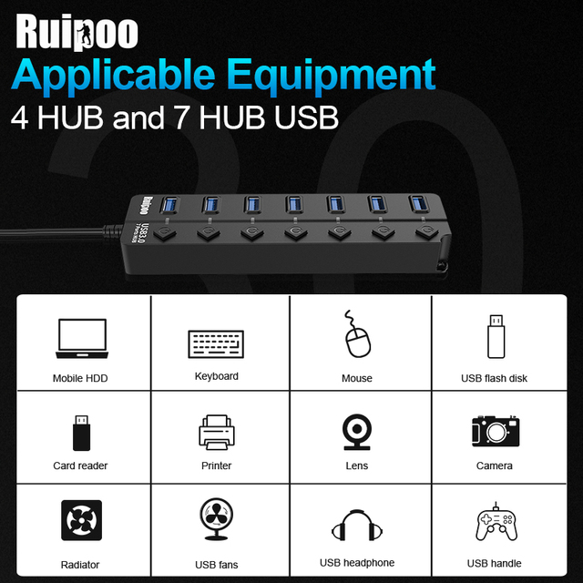 USB Hub 3.0 High Speed 4 / 7 Port USB 3.0 Hub Splitter On/Off Switch with EU/US Power Adapter for MacBook Laptop PC HUB USB 3.0 5