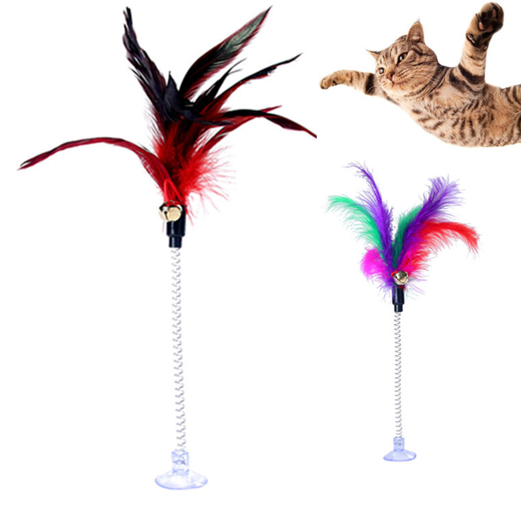 Funny <font><b>Cat</b></font> <font><b>Toys</b></font> Metal Wire Spring <font><b>Feather</b></font> Color With Bell <font><b>Cat</b></font> Rods <font><b>Toy</b></font> Stable Sucker Stand Spring <font><b>Stick</b></font> Pet Interactive <font><b>Toys</b></font> image