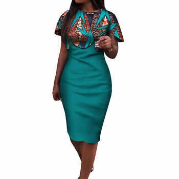 2019 Summer African Dress for Women Africa Bazin Riche Print Spliced Bodycon Elegant Mid-Calf Lady Women Midi Dress WY3932 - DISCOUNT ITEM  31% OFF All Category