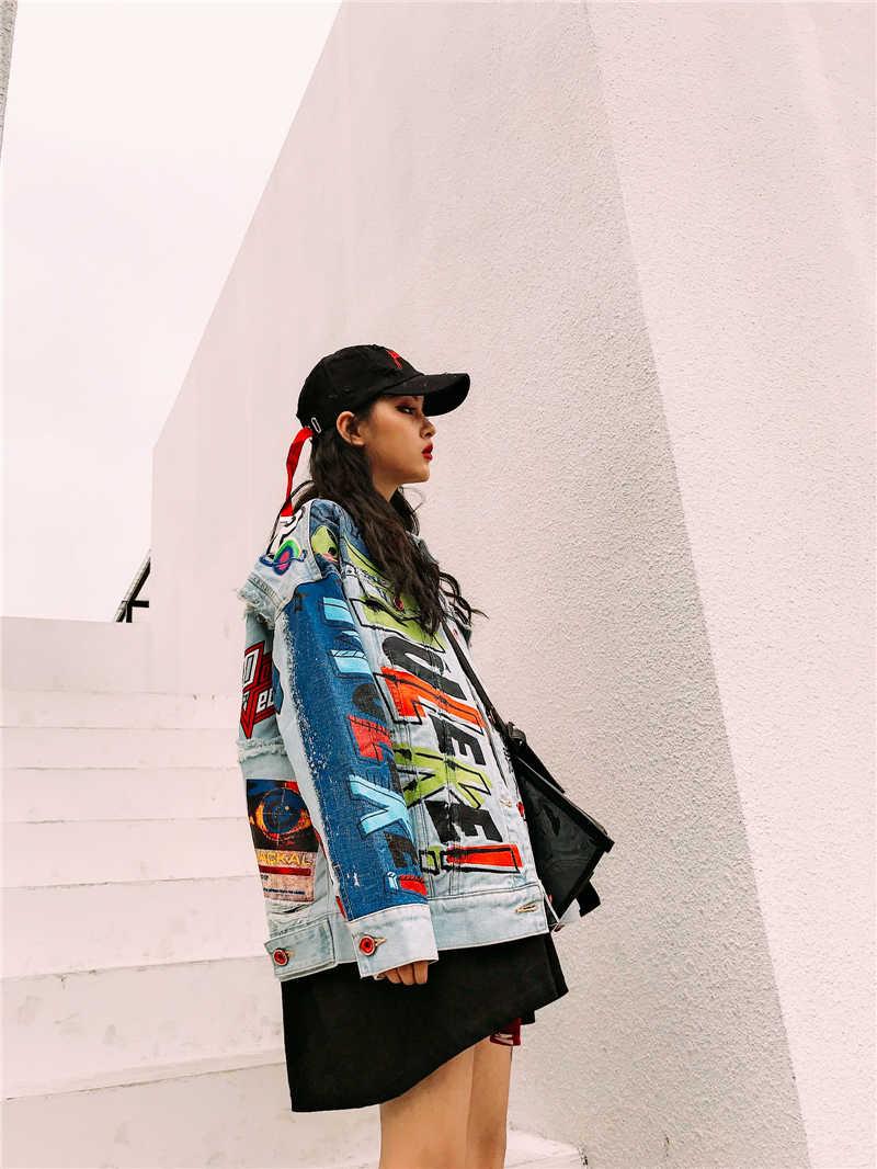 fashion personality jacket denim coat women outwear long sleeve loose letter printed jeans for women cowboy coat in winter