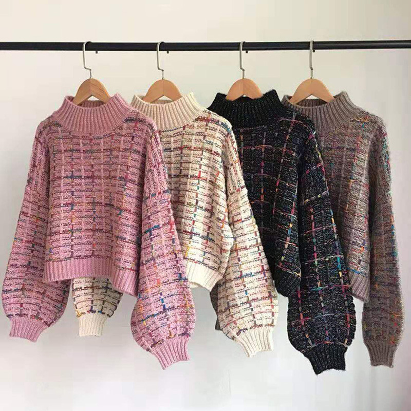 2019 Autumn Winter New Plaid Sweater Women Korean Lazy Wind Short Loose Casual Checkered Sweater Lantern Sleeve Pullovers Girls
