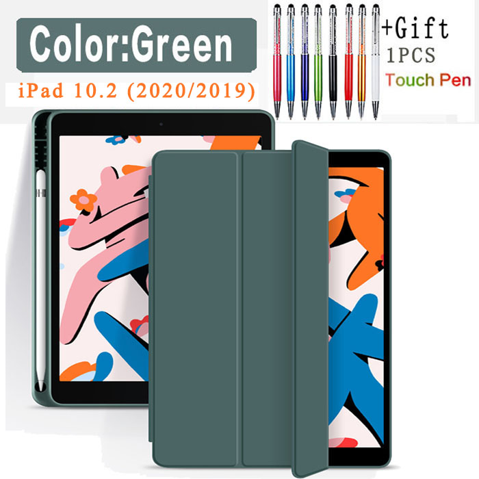 Pencil Case-Green Red Funda Case For Apple iPad 10 2 2020 2019 flip Case with Pencil Holder For iPad