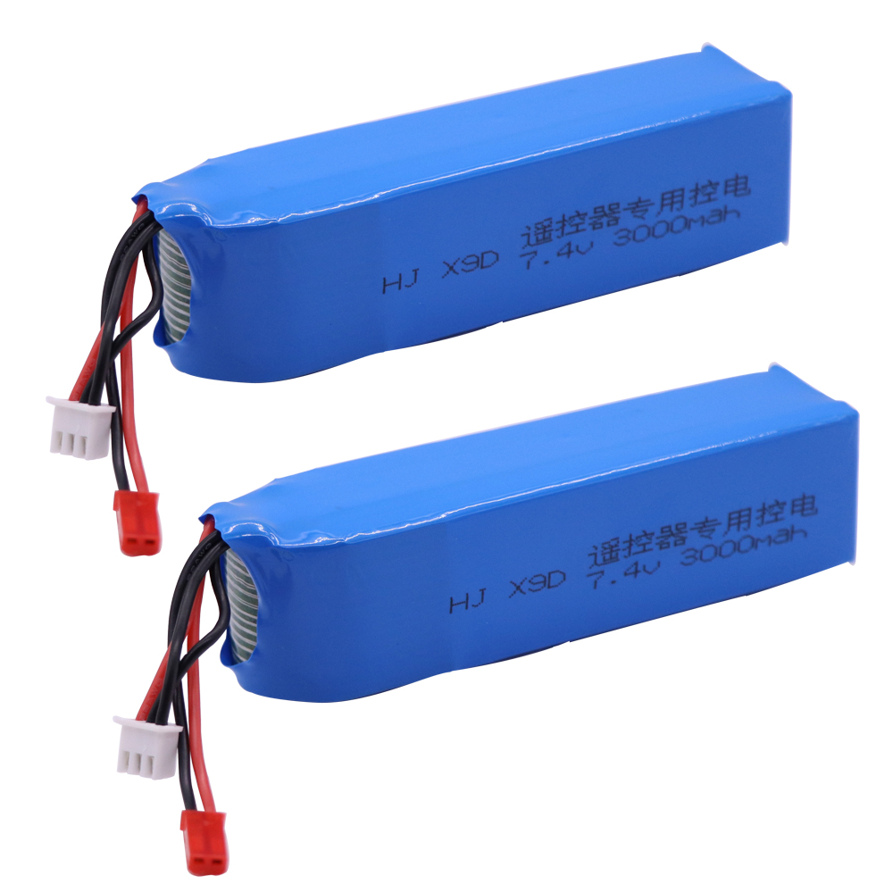<font><b>Battery</b></font> for Frsky Taranis X9D Plus Transmitter 2S <font><b>7.4V</b></font> <font><b>3000mAh</b></font> <font><b>Lipo</b></font> <font><b>Battery</b></font> Toys Accessories 2PCS/lot high quality 7.4 v <font><b>battery</b></font> image