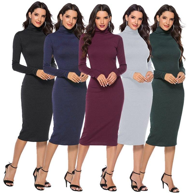 BKMGC женское осенне зимнее вязаное платье свитер с высоким воротом, сексуальное облегающее однотонное теплое длинное платье с длинным рукавом размера плюс S 5XL|Платья|   | АлиЭкспресс