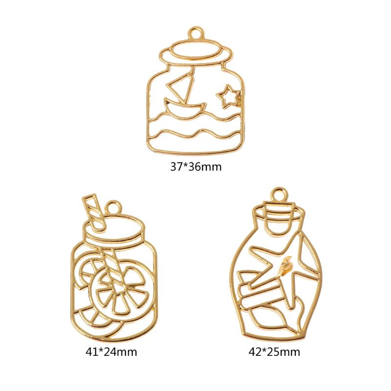 3Pcs Drift Bottle Blank UV Resin Frame Pendant Open Bezel Setting Jewelry Making Y4QB