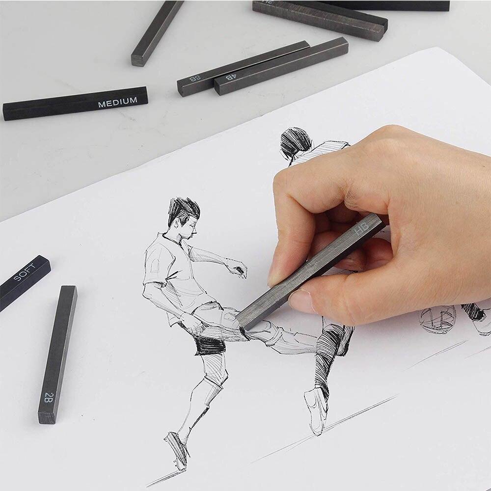 Сжатые палочки для древесного угля mylifeunium, квадратные сжатые Графитовые Карандаши для рисования художников, упаковка из 12