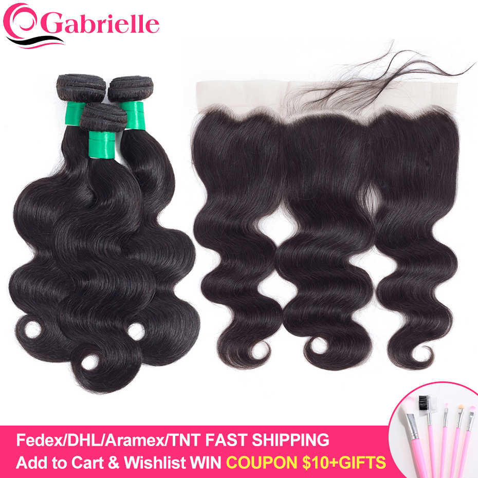 "Gabrielle Indian Body Wave 8"" to 26"" Human Hair 3 Bundles with 13x4 Lace Frontal Free/Middle/Three Part Natural Black 4pcs/lot"