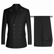 Suits Groom Tuxedos Double-Breasted Wedding-2piece Working Peaked Black Formal Fashion