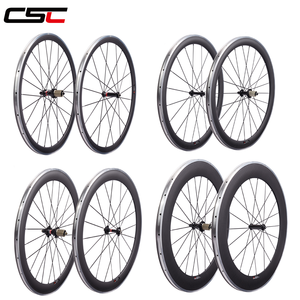 700C Carbon Wheels Aluminium Alloy Brake Track 38mm 50mm 60mm 80mm Clincher Wheelset Many Hubs to Choose