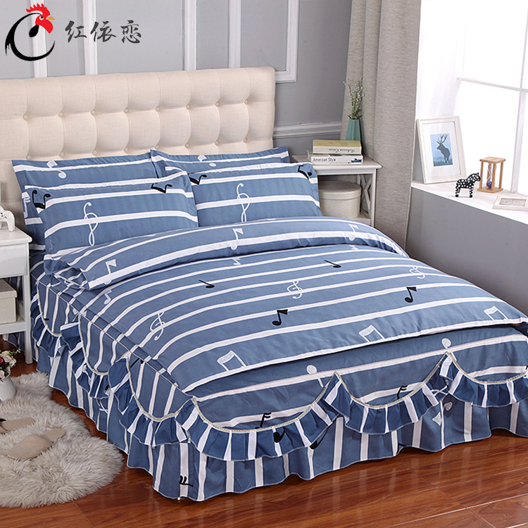 Korean-style Flounced Four-piece Of Bed Skirt Twill Brushed Warm Bedspread Chuang Qun Shi Kit