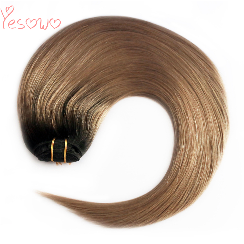 Yesowo Hot Sale 100g Silky Straight Light Brown Remy Hair Bundles Ombre Human Hair Weft European Hair Extensions For Women
