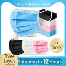 10-100 pces máscara facial descartável não wove 3 camada filtro de dobra em estoque máscara boca máscara facial respirável earloops adulto máscaras