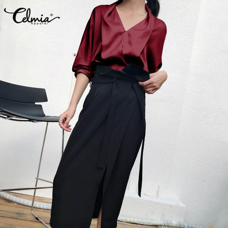 Womens Tops and Blouses Slik Satin Plus Size Shirts Celmia Autumn Fashion Long Sleeve V neck Blusas Ladies Office Elegant Tops