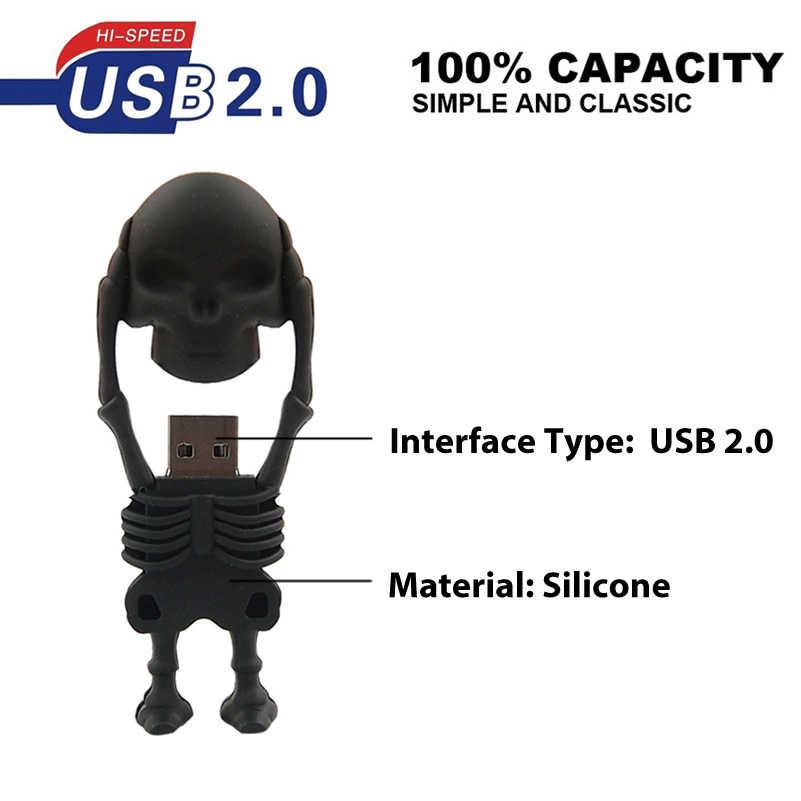 Đèn LED Cổng USB Hình Hoạt Hình Đồng Hồ Người Bút 4G 8G 16G 32G 64G Mẫu SKULL thẻ Nhớ Dung Lượng Thực Pendrive CLE USB 2.0