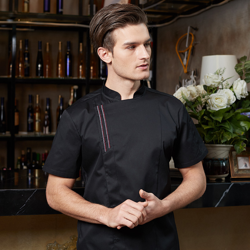New Unisex Cook Suit Restaurant Chef Jacket Short Sleeved Thin Chef Uniform Cook Clothes Summer Spring Kitchen Work Wear CK14787