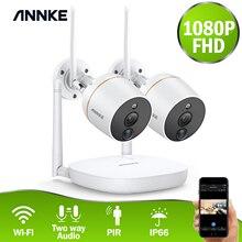 ANNKE RU 판매 4CH 1080P 무선 CCTV 보안 시스템 와이파이 미니 NVR 감시 키트 무선 IP 카메라 PIR SD 카드 녹음