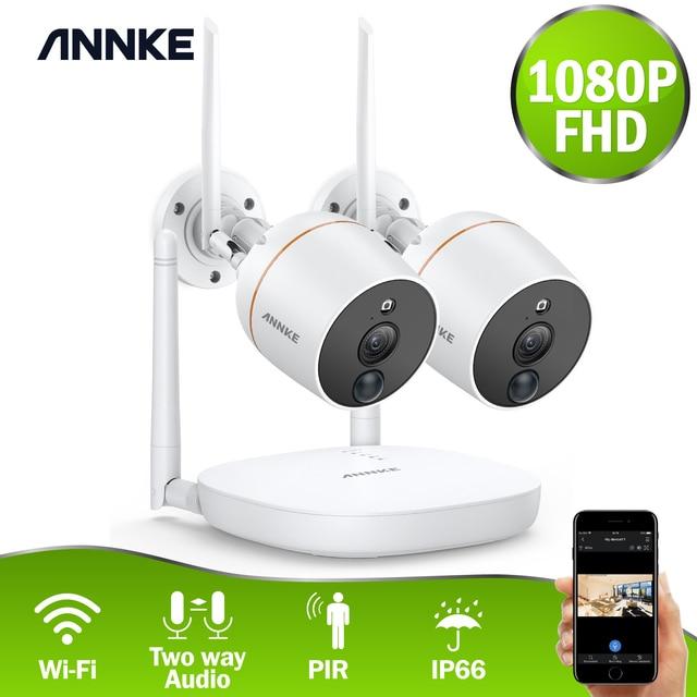 ANNKE RU Sale 4CH 1080P Wireless CCTV Security System Wi Fi Mini NVR Surveillance Kit Wireless IP Cameras PIR SD Card Recording