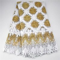 2020 Hot sale embroidery stones African lace fabric high quality for dress gold white bridal Nigerian french tulle guipure lace