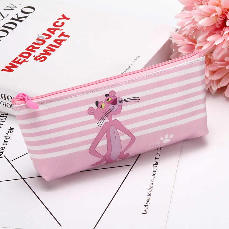 Nowy Kawaii piórnik Cartoon śliczne różowa pantera wzór pokrowiec na długopis etui na długopis szkolne materiały biurowe prezent dla ucznia