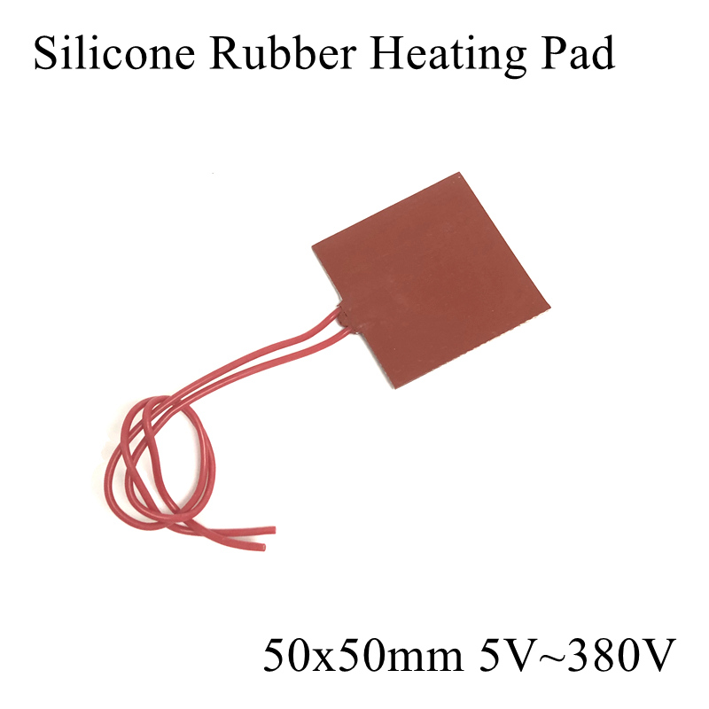 1pc/lot 50x50mm 5V~380V Silicone Rubber Heating Pad Heater Mat For 3D Printer Heat Bed Engine Oil Fuel Water Tank Warming Diesel