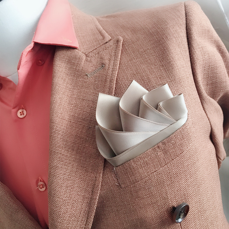 Business Pocket Towel Men's Suit Dress England Pure Color Square Towel Straight Insert Molding Wild Wedding Dress Accessories