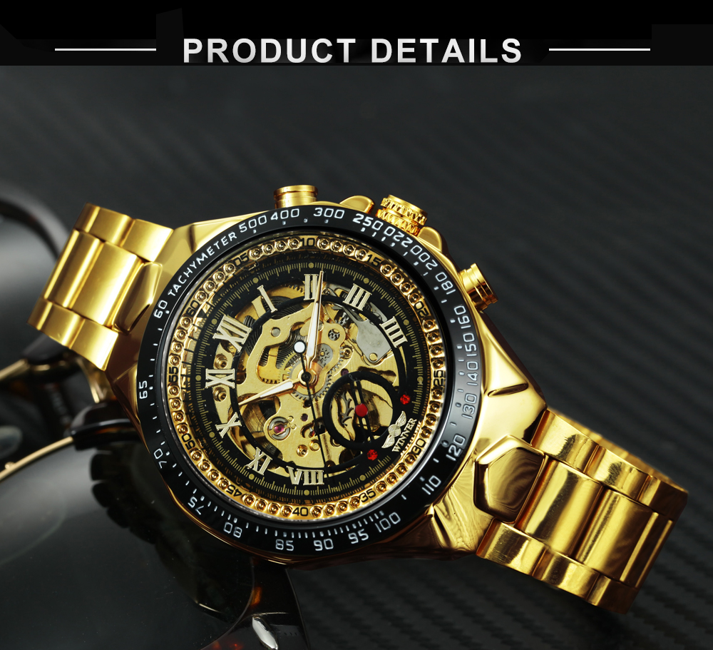 WINNER Official Fashion Luxury Men's Mechanical Skeleton Watch Big Metal Strap Top Brand Dropship Retro Wristwatches Golden +BOX