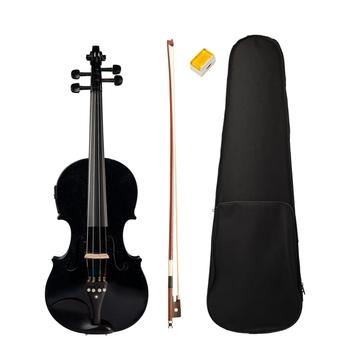 4 4 pełnowymiarowe skrzypce skrzypce i skrzypce elektryczne z litego drewna korpus heban akcesoria wysokiej jakości czarne skrzypce elektryczne tanie i dobre opinie CN (pochodzenie) Świerk Brazylia drewna Lipa Violin