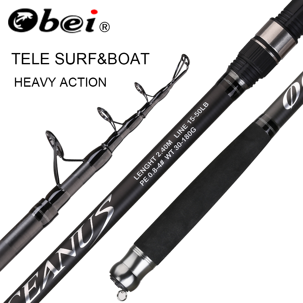 OBEI Tele Surf Rod  telescopic fishing rod tele carp Carbon Fiber Spinning pesca 2.4 2.7 3.0m power 30-200g Hard Pole