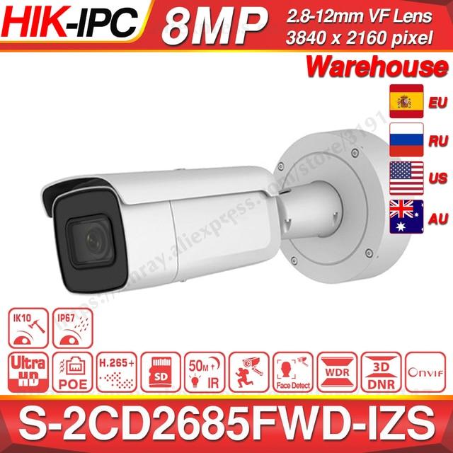Hikvision המקורי DS 2CD2685FWD IZS Bullet מצלמה 8MP POE CCTV מצלמה 50m IR טווח IP67 IK10 H.265 + 2.8 12mm זום