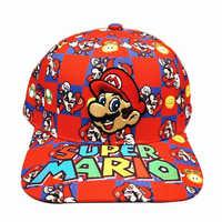 Juego Super Mario Bros de moda Snapback gorros de Hip Hop de dibujos animados Unisex gorra de béisbol de algodón para el sol, de camionero sombrero ajustable Golf