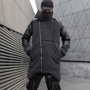 2019 Men Winter Jackets Black Hip hop Jacket Coat Men Casual Warm PU Stitching Coats Streetwear Parkas ABZ594