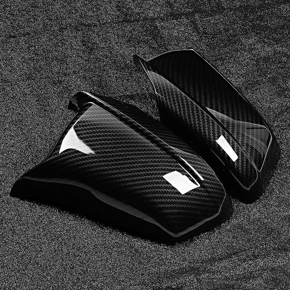 Left & right side espelho tampa da carcaça cobre textura de fibra carbono apto para bmw série 5 f10 2011 2012 2013 espelho retrovisor capa
