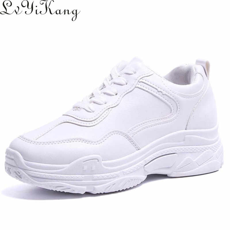 Lvyikang 2019 New Spring Fashion Women Casual Shoes  Leather Platform Shoes Women Sneakers Ladies White Trainers Chaussure Femme