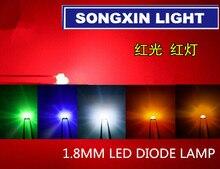 1000 sztuk 1.8mm dioda LED światło biały żółty czerwony zielony pomarańczowy niebieski oryginalny kolor DIP LED rozproszone