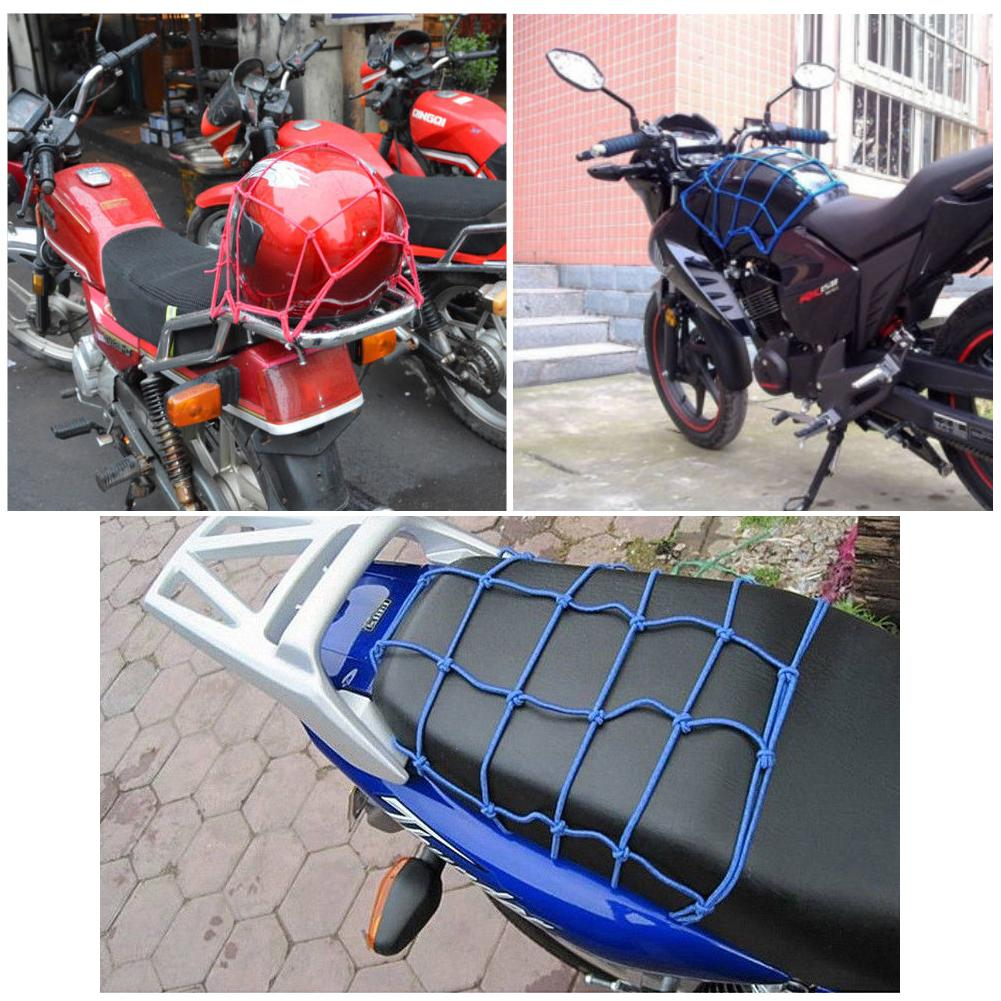 12inch 6 Hook Tiedown Faux Leather Motorcycle Cargo Net Helmet Storage Mesh Bag  Solid Color Elastic with Hooks Durable