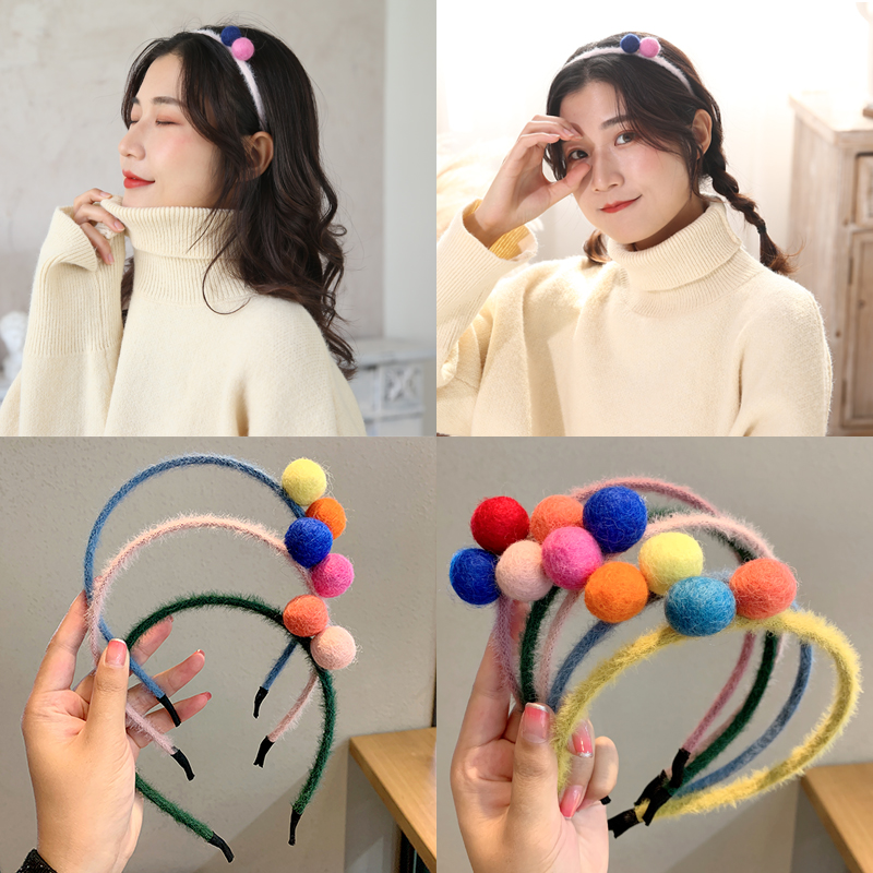 Women Girls Cute Colorful Hairballs Plush Hairbands Sweet Headband Hair Holder Ornament Hair Band Fashion Hair Accessories