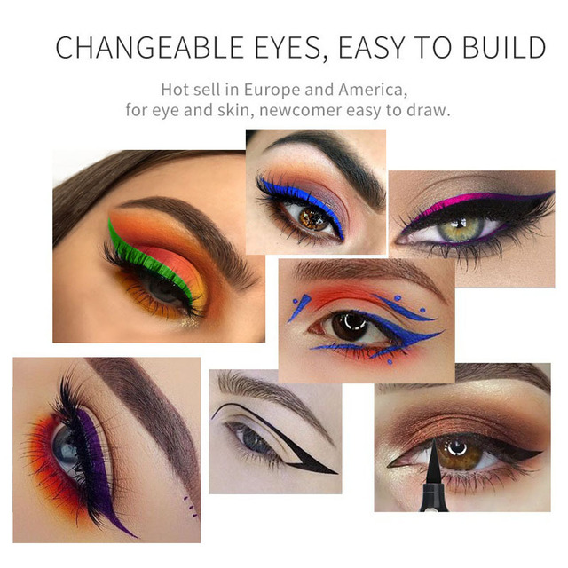 Evpct 2 In1 Liquid Glitter Eyeliner Stamp 7 Color Blue Brown Smoky Eyes Thin Wing Seal Makeup Black Eye Liner Pencil  TSLM1