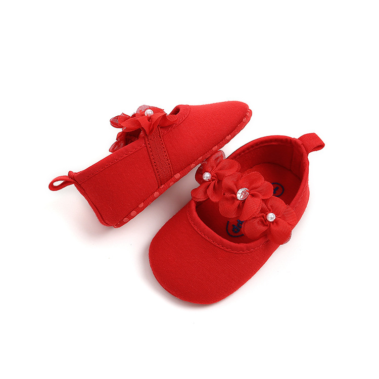 B&G Baby First Walkers Girl Princess Baby Shoes Flower Soft Sole Antiskid Walking Shoes