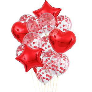 14pcs/lot 12inch Red Heart Transparent Confetti Latex Balloons Wedding Valentine's Day Anniversary Birthday Party Decorations
