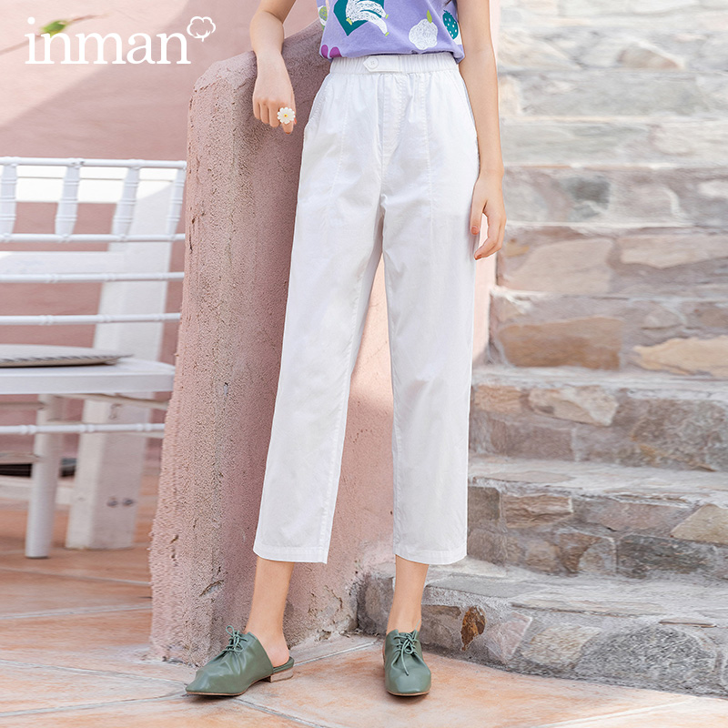 INMAN 2020 Summer New Arrival Straight High Elastic Waist All-match Commuting Ankle Length Harem Pant