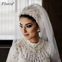 Arabic Handmade Crystals Wedding Veils 3 Meters Long Shiny Gorgeous Wedding Accessories Bridal Veils Casamento