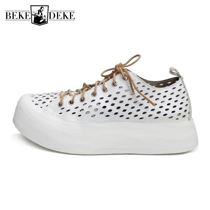 Summer Mens Breathable Hollow Out Sandals Cow Genuine Leather Thick Platform Shoes High Street Casual Lace Up Sneakers Sandals