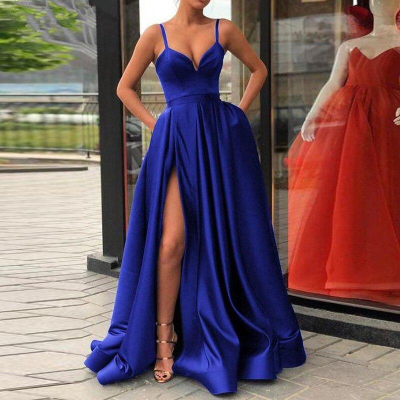 Robe de soirée bleue 2019 une ligne Satin avec bretelles Spaghetti longue robe de soirée de bal côté fendu Abendkleider robes de soirée
