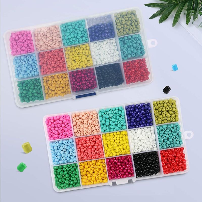 4MM 24 Grid Multi-Color Loose Glass Rice Beads Belt Box Set DIY Handmade Weaving Bracelet Necklace Jewelry Making Beads Toys